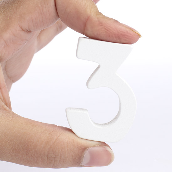 "1pcs White Wooden Number 0 9 Bridal Wedding Birthday Party: White Number ""3"""