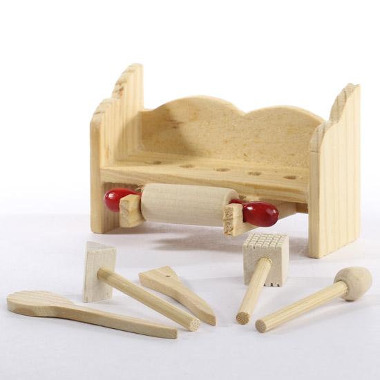 Wooden Kitchen Tool Set Magnet Miniatures Sale Sales