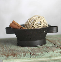 Small Rustic Tin Colander Mini Kitchen Utensils