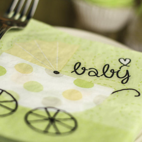 Lime Green Baby Carriage Paper Napkins Baby Shower Decorations