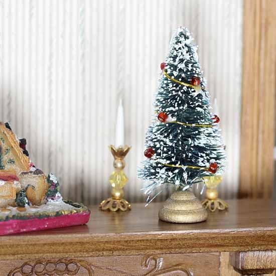 Christmas Dollhouse Miniatures.Dollhouse Miniature Frosted Bottle Brush Christmas Tree