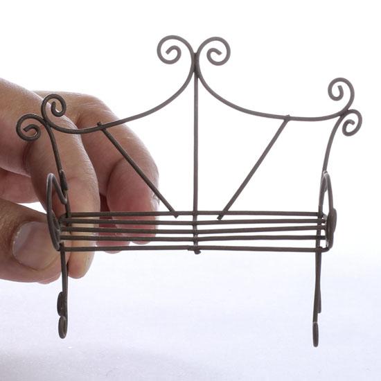 Gnome Garden: Miniature Rustic Wire Bench