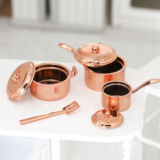 Miniature Copper Pots And Pans Kitchenware Set Kitchen