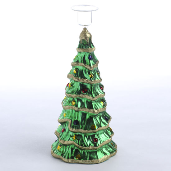 Glass christmas tree candle holder candles and for Christmas candle displays