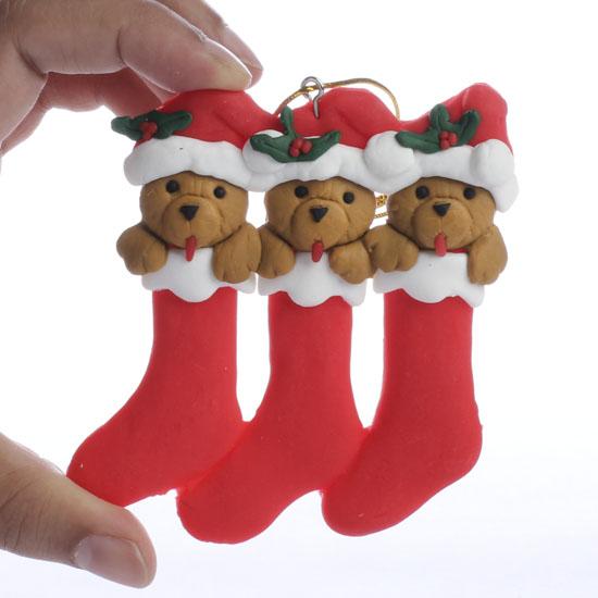 Polymer Clay Teddy Bear Stocking OrnamentChristmas Ornaments
