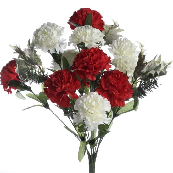 Artificial Carnations And Holly Bush Holiday Florals
