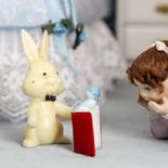 Miniature Bunny and Book - True Vintage