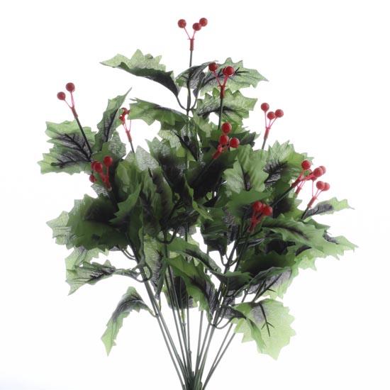 Dark Green Artificial Holly Bush Christmas And Winter