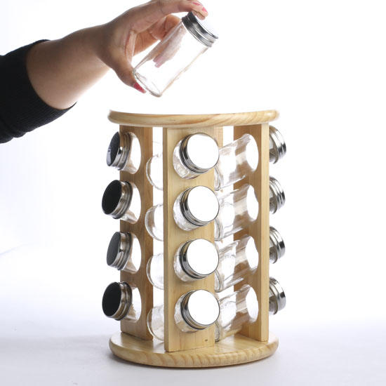 Round Revolving Wood Spice Rack