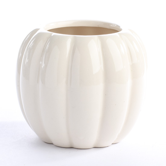 Off White Ceramic Pumpkin Container Candles And