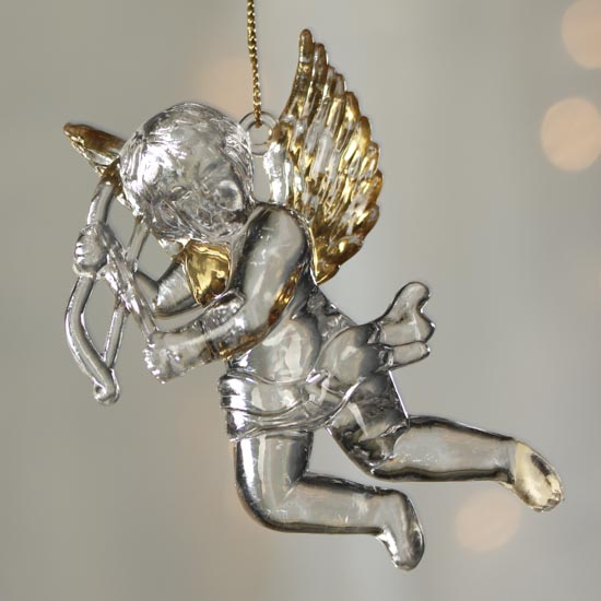 Click Here For A Larger View - Faux Crystal Cherub Ornament - Christmas Ornaments - Christmas And