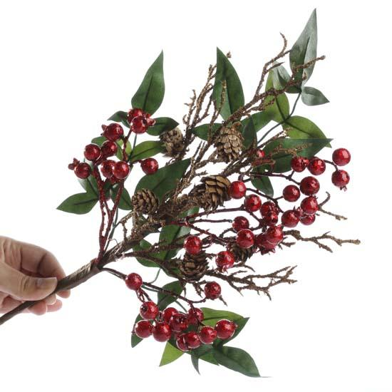 Artificial pomegranate and pinecone pick holiday florals for Artificial pomegranate decoration