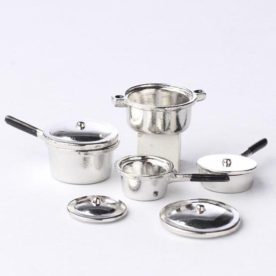Dollhouse Miniature Silver Pots And Pans Kitchen