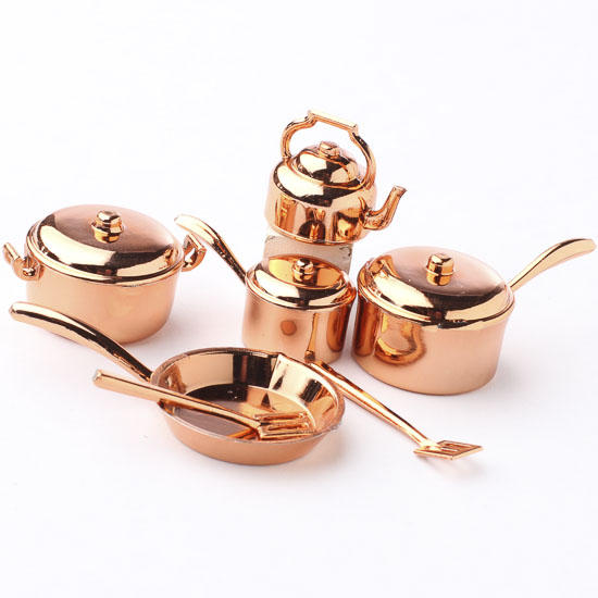 miniature copper pots and pans kitchenware set kitchen. Black Bedroom Furniture Sets. Home Design Ideas