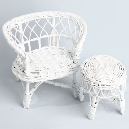 Miniature Wicker Chair And Table Set Fairy Garden