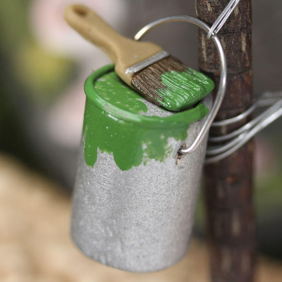 Gnome Garden: Miniature Paint Can And Brush