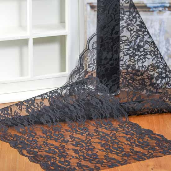 Vintage Inspired Black Lace Table Runner Ribbon and Trims Craft