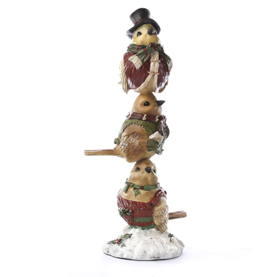 Vintage stacked chickadee figurine table decor christmas and winter holiday crafts - Chickadee figurine ...