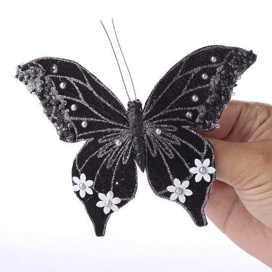 Black Glittered Artificial Swallowtail Butterfly Birds