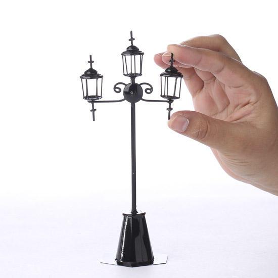 Miniature black street light post fairy garden miniatures compare size mozeypictures Images