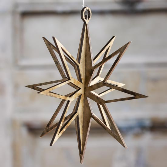 Dimensional Laser Cut Star Ornament Wood Cutouts