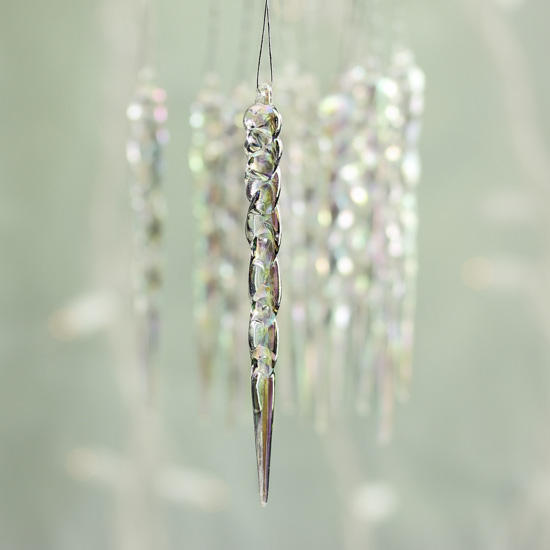 Christmas Decorations Icicle Ornaments: Iridescent Icicle Ornaments