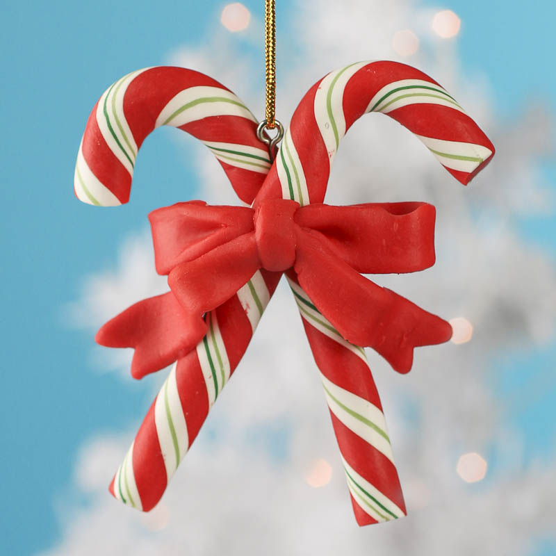 Polymer clay candy cane ornament christmas ornaments