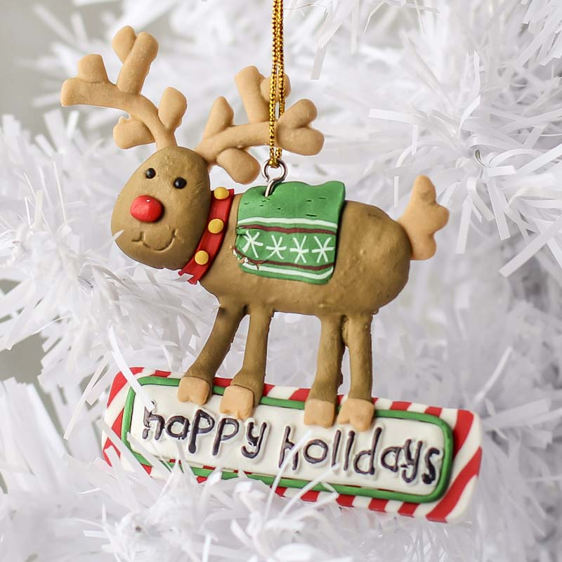 Polymer Clay Christmas Ornament: Polymer Clay Reindeer Ornament