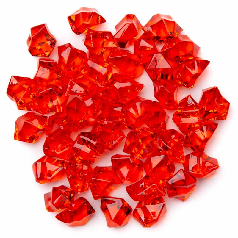 Red acrylic ice rock gems vase fillers table scatters for Plastic gems for crafts