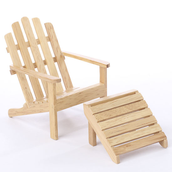 Miniature oak adirondack chair and footstool coastal decor home decor