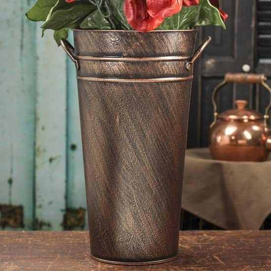 Ribbed copper metal french flower bucket decorative for Large galvanized buckets for flowers