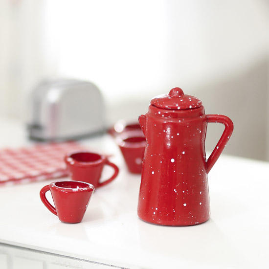 Miniature Coffee Set in Red Pot /& 4 Cups 1:12 scale