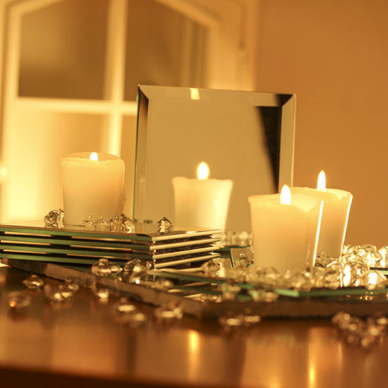 Square glass beveled mirrors centerpiece party
