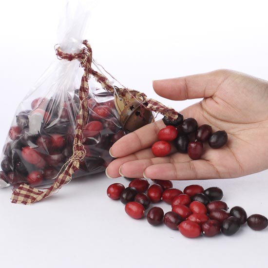 bag of artificial cranberries vase fillers table