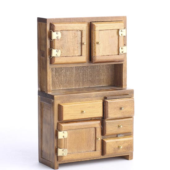 Hoosier Kitchen Cabinet: Miniature Walnut Hoosier Cabinet