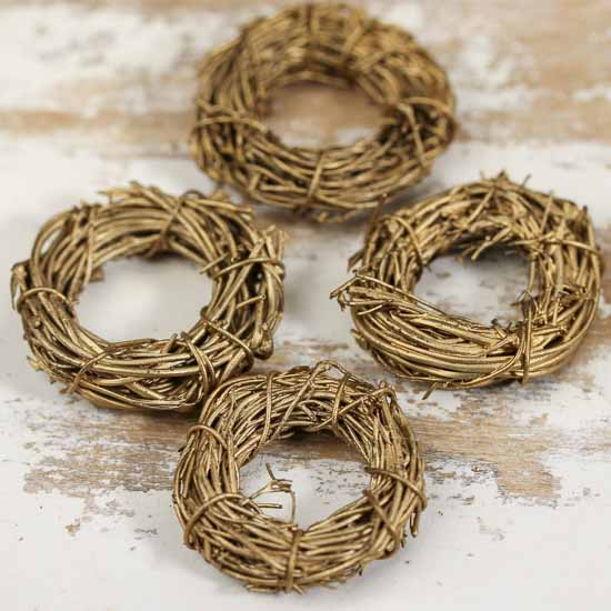 Miniature golden twig wreaths natural grapevine floral for Craft wreaths for sale