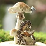 Reading Hedgehog and Mushroom Figurine