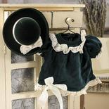 Green Velvet Doll Dress and Hat Set - True Vintage