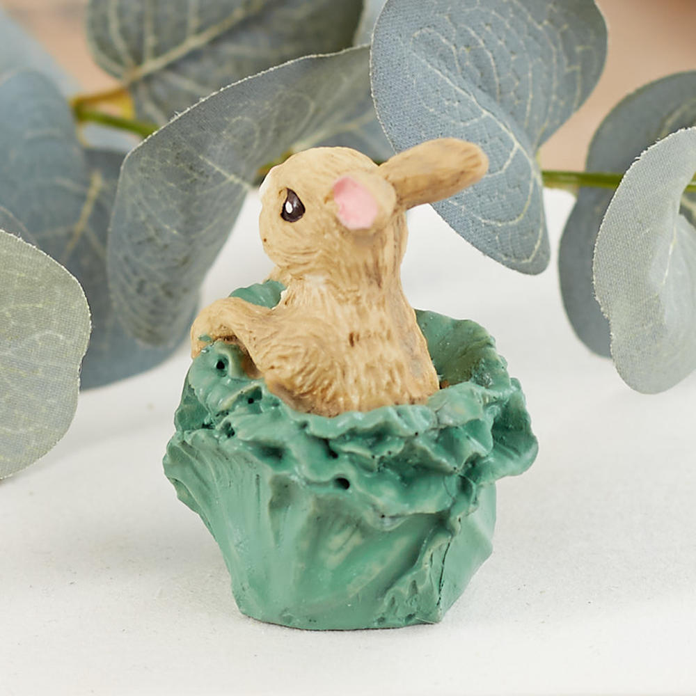 Miniature Bunny In Cabbage Figurine Fairy Garden