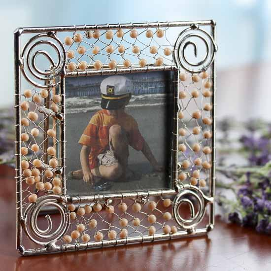 Beaded Silver Wire Scroll Picture Frame Placecards Place Card