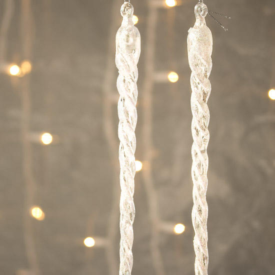Christmas Decorations Icicle Ornaments: Large Iridescent Icicle Ornaments