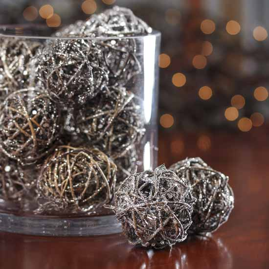 Small SilverGlittered Rattan Balls Vase Fillers Table Scatters Mesmerizing Rattan Decorative Balls
