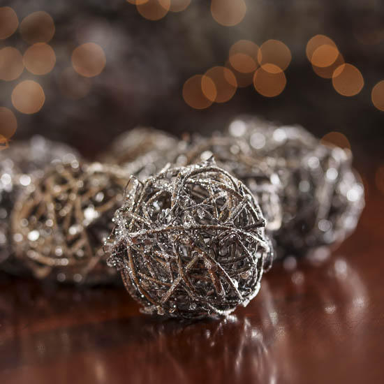 Small Silver Glittered Rattan Balls Vase Fillers Table Scatters