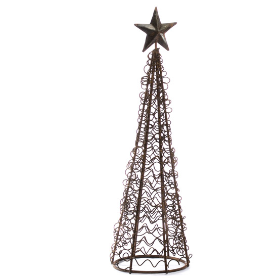 rusty wire christmas tree table decor christmas and. Black Bedroom Furniture Sets. Home Design Ideas