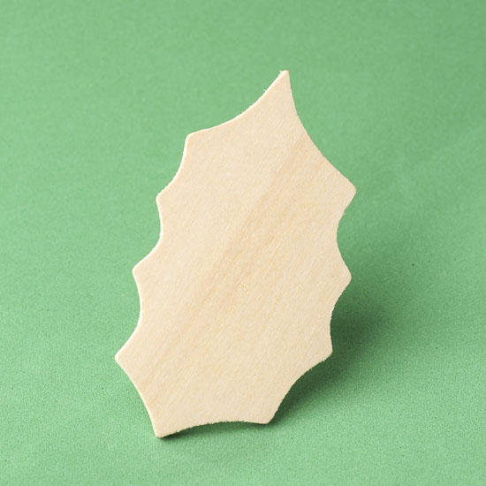 Unfinished wood holly leaf cutout wood cutouts for Wood cutouts for crafts