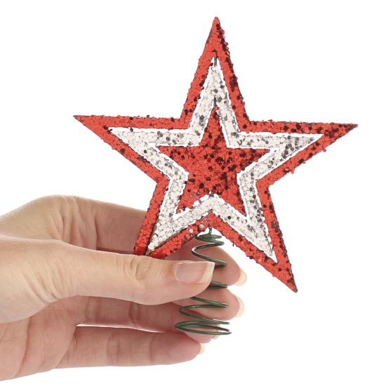 Small Sparkling Red and Silver Star Tree Topper - Trees ...