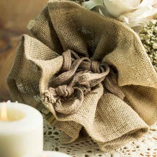 Burlap fabric bouquet holder decorative accents for Decorative burlap fabric