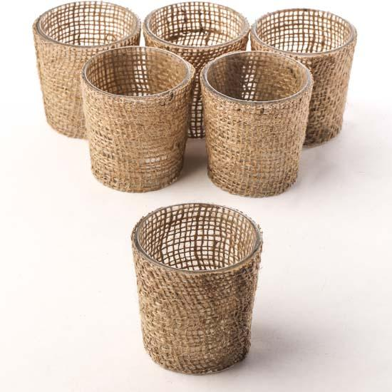 Burlap fabric votive candle holders candles and for Coupons for factory direct craft