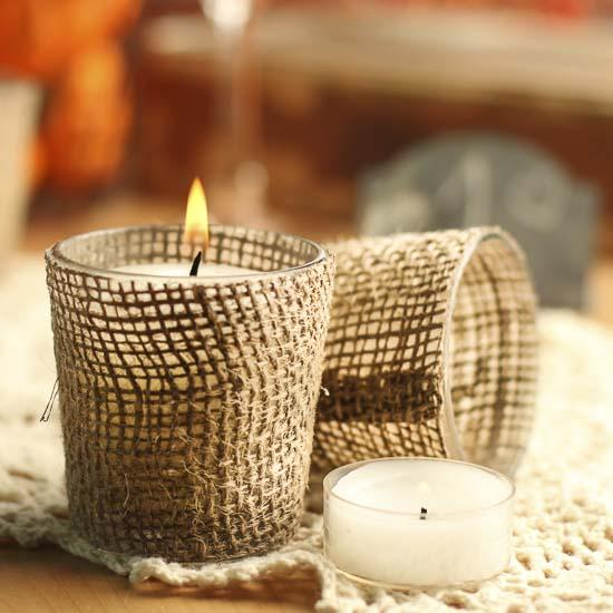 Burlap Fabric Votive Candle Holders Candles And