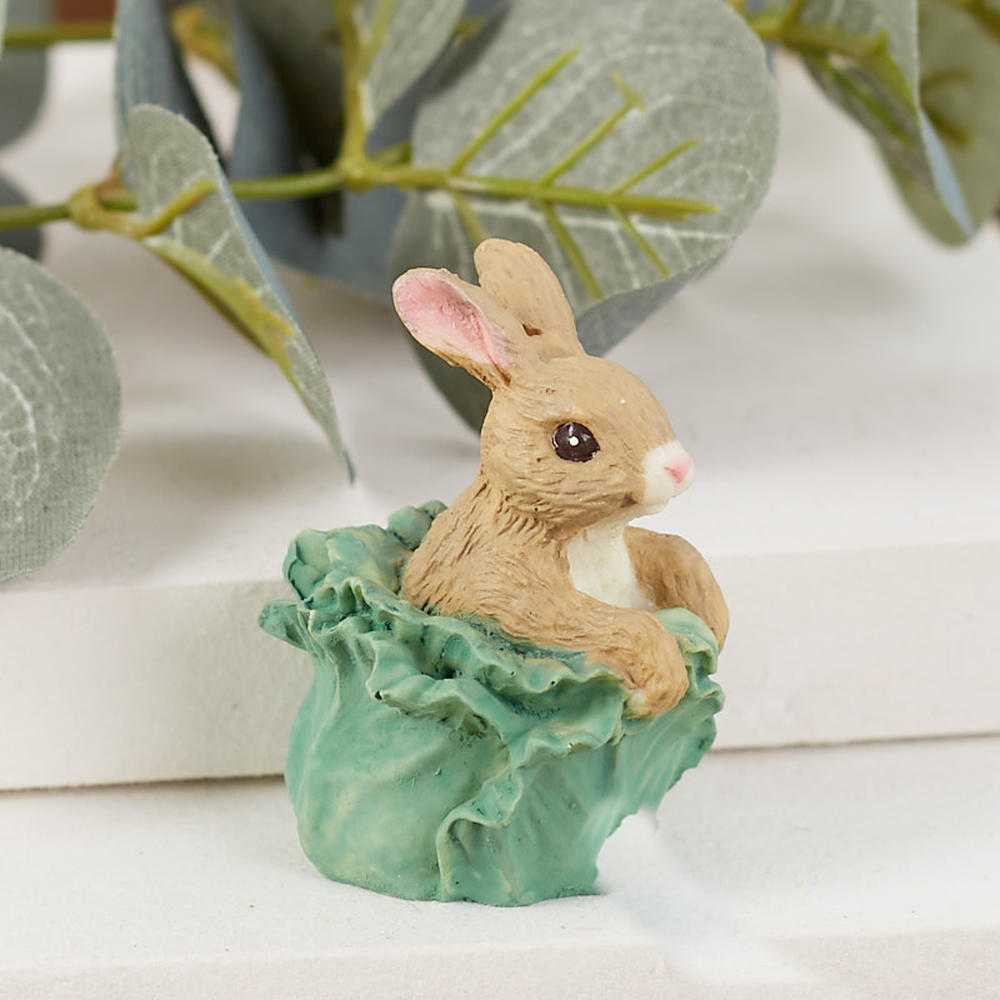 Miniature Bunny In Cabbage Figurine Spring And Easter